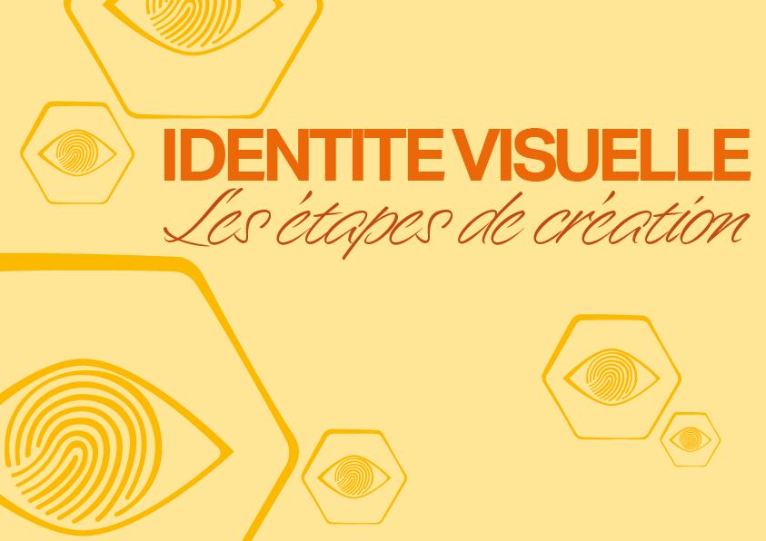 Titre de l'article écrit en orange sur fond jaune : identité visuelle, les étapes de création.